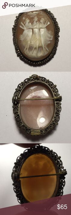 "Vintage Sterling 3 Graces Cameo Vintage Three Graces Shell Cameo Brooch/Pendent Gold Vermeil over 800 silver. Exquisite carving, with incredible details. No cracks. Gold vermeil is worn off in places. Working Clasp. May be worn on a necklace as a pendent or pin brooch. Marked BA800 for makers mark and silver purity. Measures  1 5/8"" tall x 1 3/8"" wide  L. Vintage Jewelry Brooches"