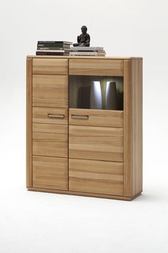 Highboard Lenor II in Kernbuche oder Eiche Bianco zeitlose Möbelserie Massivholz 1 x Highboard links mit 1 Holztür 1 Glastür und Einlegeböden Maße:...