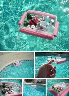 beverage boat: Top 21 The Best DIY Pool Noodle Home Projects and Lifehacks Piscina Diy, Floating Cooler, Floating House, Diy Cooler, Homemade Cooler, Ideas Prácticas, Pool Ideas, Party Ideas, Craft Ideas