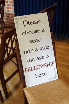Lord of the Rings seating sign