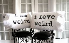 We're weird, and we love it! Couple's pillowcases.