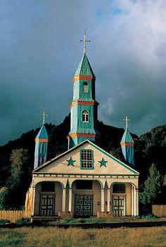 one of the over one hundred churches of Chiloe island, Chile via Lucy @ Patina Paradise