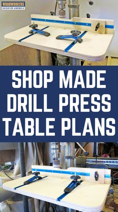 DIY Woodworking: Shop-Made Drill Press Table Plans This is a shop fixture that's worth getting started on immediately. Stationary drill presses are definitely not set up for DIY woodworking. Woodworking Drill Press, Cool Woodworking Projects, Woodworking For Kids, Woodworking Workshop, Woodworking Jigs, Woodworking Square, Youtube Woodworking, Welding Projects, Carpentry