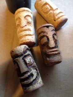 Tiny Tikies made out of recycled corks – Recycled Crafts Recycled Wine corks are as much fun to collect (drinking wine) :) as they are to craft with. Tiki faces are a classic summertime decorating theme so why not carve up a bunch of these fun tiki with … Wine Craft, Wine Cork Crafts, Wine Bottle Crafts, Crafts With Corks, Wine Bottles, Recycled Wine Corks, Recycled Crafts, Recycled Bottles, Wooden Crafts