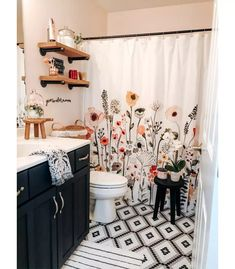 A little pattern never hurt nobody. 🖤 Finally sharing my daughter's Bathroom Refresh REVEAL!I think this may be my favorite little… Boho Bathroom, Bathroom Interior, Small Bathroom, College Bathroom Decor, Quirky Bathroom, Girl Bathroom Decor, Girl Bathrooms, Colorful Bathroom, Bathroom Remodeling