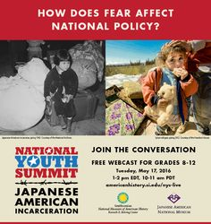 TODAY (May 17, 2016): our National Youth Summit live webcast. Perfect for high school students, this year's summit focuses on Japanese American incarceration during World War II. #APUSH #Scholars2Leaders