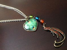 Peacock pendent necklace.  By Renewed Root.