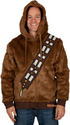 This Chewbacca Fur Hoodie will make you look like Han Solo's Wookiee companion.  The hoodie is composed of faux fur, giving a true to life Wookiee appearance.