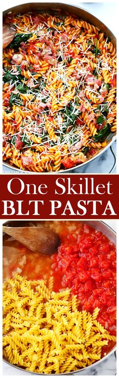 One Skillet BLT Pasta - Quick and easy 30-minute, one skillet pasta recipe with spinach, tomatoes and bacon! AD @huntschef  HuntsAtHome