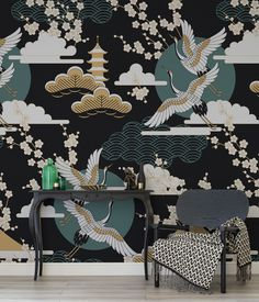 Eastern style with a modern twist. This wallpaper design brings together beautiful motifs set against an ink black background. It works wonderfully with gold and green accents to give a luxurious undertone.