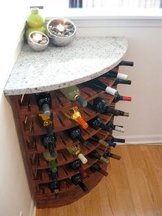 43 Handy Corner Storage Ideas That Will Maximize Your Space - GODIYGO.COM Handy corner storage ideas that will maximize your space 06 Corner Wine Rack, Corner Bar Cabinet, Corner Storage, Kitchen Corner, Wine Storage, Storage Ideas, Corner Shelf, Cabinet Storage, Kitchen Storage