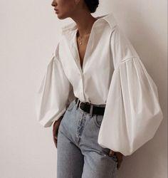 White Casual Puff Sleeve Button Up Shirt - Moda Mode Outfits, Casual Outfits, Fashion Outfits, Fashion Tips, Fashion Trends, Fashion Hacks, Casual Shirt, Loose Shirt Outfit, Shirt Hair
