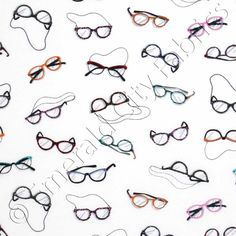 Timeless Treasures Hipster Eyeglasses White, 44-inch (112cm) Wide Cotton Fabric Yardage FUN-C1487-WHITE - Emerald City Fabrics