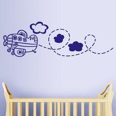Un avión es un aerodino de ala fija provisto de alas y un espacio de carga capaz de volar, impulsado por uno o más motores. En este vinilo infantil encontramos un avión de pasajeros volando entre las nubes. Una línea discontinua nos indica la ruta que ha seguido el avión en su trayecto. Para las niñas que quieran ser pilotos o para los niños aviadores, éste es el vinilo decorativo ideal. #decoracion #teleadhesivo Ideas Habitaciones, Wall Drawing, Mural Wall Art, Baby Room, Preschool, Nursery, Drawings, Boys, Home Decor