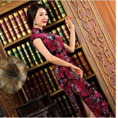 rose red velor fabric long cheongsam dress velvet women winter velvet qipao sexy high-slit long cheongsam dress velvet qipao