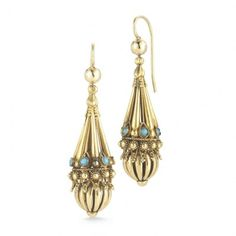 Fred Leighton Victorian 18K  Gold and Turquoise Pendant Earrings