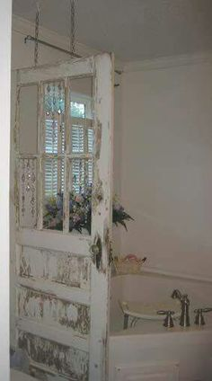 Distressed old door as a partition.
