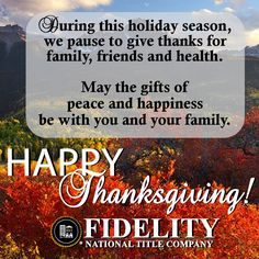 Happy Thanksgiving from Fidelity National Title Company (Colorado) | #HappyThanksgiving