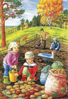Solve potato farm jigsaw puzzle online with 176 pieces Whatsapp Fun, Foto Gif, Animation, Country Art, Autumn Activities, Illustrations, Cute Pictures, Clip Art, Seasons