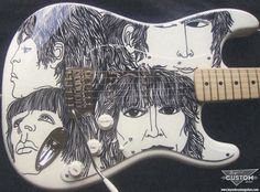 "Fender Stratocaster with Custom Beatles ""Revolver"" artwork work by www.beyondcustomguitars.com"