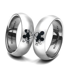 Couple Set Tungsten Band with Domed Edge Mickey & Minnie Mouse Pattern Wedding Ring Disney Wedding Rings, Disney Rings, Beautiful Wedding Rings, Wedding Rings Rose Gold, Disney Jewelry, Diamond Wedding Bands, Antique Style Engagement Rings, Best Engagement Rings, Solitaire Engagement