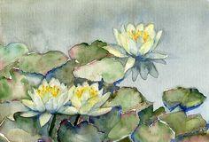 Water Lillies by Tania Vasylenko  Watercolor