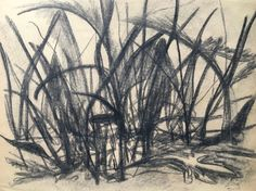 Vintage 60's Abstract Drawing Weeds Plants Charcoal Signed J. Hewett PA Artist #Abstract
