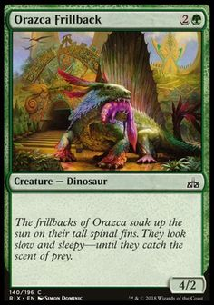 Orazca Frillback (Rivals of Ixalan) - Gatherer - Magic: The Gathering Dnd Monsters, Nice Comments, Jurassic Park World, Magic The Gathering Cards, Magic Cards, Wizards Of The Coast, Prehistory, Mtg, Best Games
