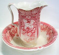 Red transferware J & G Meakin decorative porcelain wash basin and pitcher set, circa Porcelain Ceramics, China Porcelain, Ceramic Art, Ceramic Bowls, White Ceramics, Antique China, Vintage China, Vintage Plates, Red And Pink