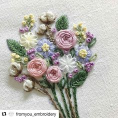 Embroidered floral bouquet.   @fromyou_embroidery with @repostapp