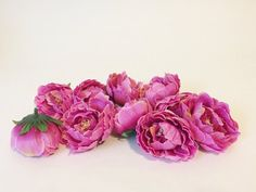 10 Mini Ruffled Peonies in Hot Pink - 2.5 inches - artificial flower- read description - ITEM 01395