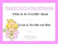 lost tooth certificate