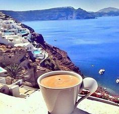 Morning Coffee in Santorini I Love Coffee, Best Coffee, Coffee Break, My Coffee, Morning Coffee, Brown Coffee, Coffee Travel, Coffee Mugs, Coffee Cafe
