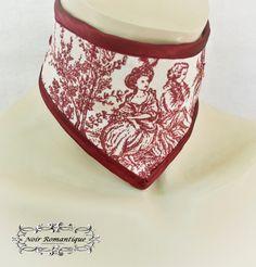 """Τhe"""" victorian promenade"""" white and burgundy neck collar-neck corset-gothic neck collar-cotton neck collar-victorian pattern-gothic choker by NoirRomantique on Etsy https://www.etsy.com/listing/236947855/the-victorian-promenade-white-and"""