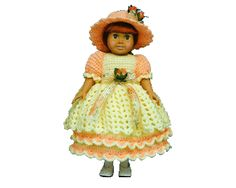 Miss Apricot Crochet Pattern. A bright and colorful addition to our 18 inch doll line. Apricot is wearing white patent shoes and white tights and is ready be a part of your collection or for that v...