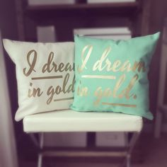 The pool one. Monogram Throw Pillow Cover - I Dream in Gold on Etsy, $30.00 @Anna Lindley