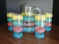 Vintage Pitcher and Glasses - Lemonade Pitcher by RewindThePast on Etsy  Memories of Aunt Ruth