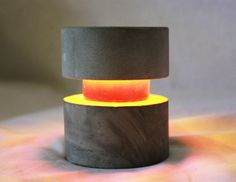 OLite Concrete Circular Led Table Light 9v Battery by CFabStudios, $20.00