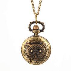 Antique Style Owl Pendant Pocket Watch Necklace