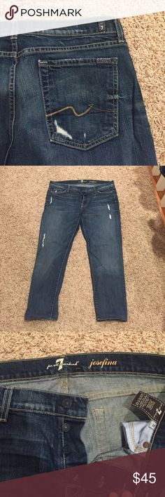 "7 for all man kind josefina crops size 31 Button fly 7 for all man kind 25"" inseam, 6"" leg opening, 8"" front rise, waist 17"" straight across front laying flat, 2% spandex 7 For All Mankind Jeans Ankle & Cropped"