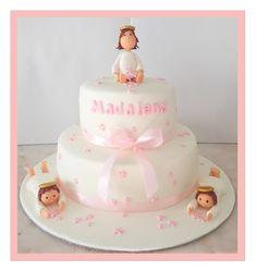 Bolo Menina Aniversário Batizado Anjos Anjinhos Estrelas Cor rosa