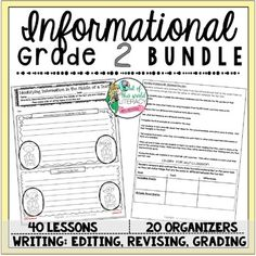 Bundles are available in grades 2-6. This bundle includes everything you need to teach and assess for a month long unit of study on informational text in the reading and writing workshops! There are 40 CCSS detailed lessons, chart examples, printable graphic organizers and thinkmarks for every reading lessons, writing rubrics, and much more!