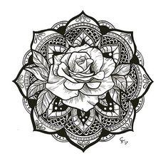 Mandala with Rose Tattoo Idea
