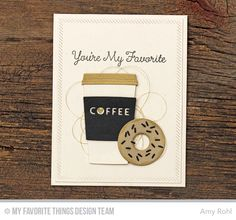 Donuts and Sprinkles, Donuts Die-namics, Coffee Cup Die-namics, Inside and Out Diagonal Stitched Rectangle STAX Die-namics - Amy Rohl #mftstamps