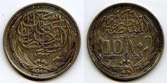 Silver Coin 1917 AD, 1335 AH Egyptian Ten Piastres Sultan of Egypt Hussein Kamel
