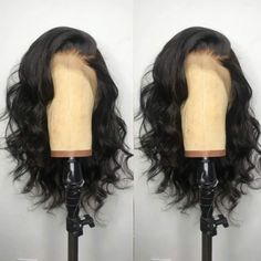 Amazing offer on Andrai Hair Short Bob Lace Front Wigs Glueless Natural Wave Synthetic Heat Resistant Fiber Hair Wig With Baby Hair For Black Women 16 Inch Black Wavy Wigs online - Topniftyfashion Wig Styles, Curly Hair Styles, Natural Hair Styles, Short Bob Hairstyles, Wig Hairstyles, Black Hairstyles, American Hairstyles, Wedding Hairstyles, Casual Hairstyles