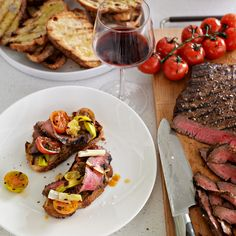 Balsamic Marinated Flank Steak | A balsamic vinaigrette doubles as a marinade here, giving flank steak enormous flavor while its marinated overnight. The dressing comes together quickly in a blender with garlic, rosemary, oregano and a touch of mustard. Serve the sliced steak over toasted bread with grilled vegetables or in an epic steak sandwich.