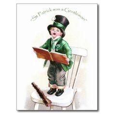 Jongen die Iers Lied zingen Vintage St Patrick Dag