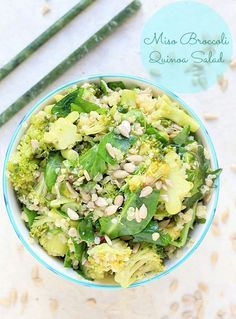 Healthy & delicious, this Miso Broccoli Quinoa Salad is an easy make-ahead recipe for lunch or dinner. | Gluten-free. vegetarian, vegan