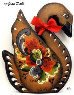 Decorative Teleokre Swan. Designed, Rosemaled & Signed by the Artist Joan…